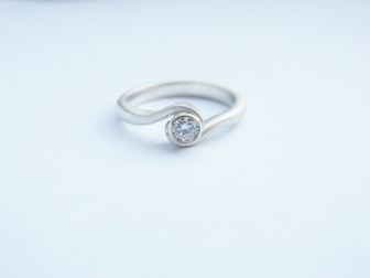 diamond and white gold engagement ring