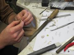 Making the bezel for the stone.