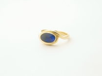 18ct yellow gold with black opal engagement ring