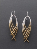 karen williams square silver wire and 22ctplate earrings