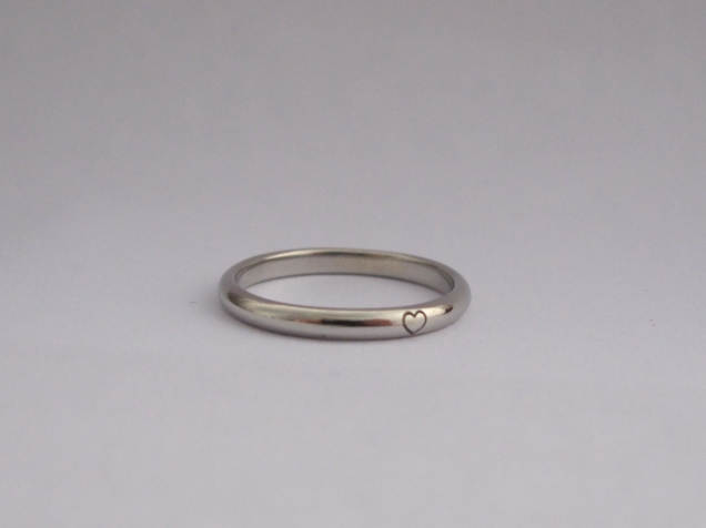platinum ring with heart