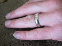 Finished white gold ring